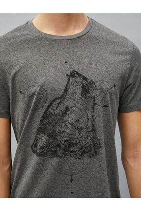 Koton Erkek T-shirt Antrasit 1yam11781dk 4