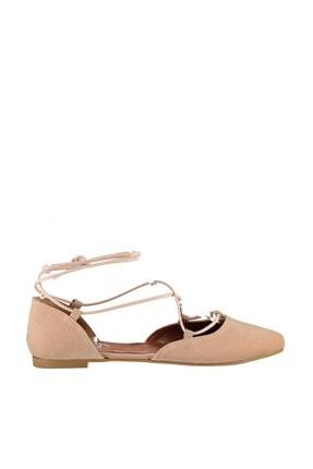 Fox Shoes Pudra Süet Ipli Kadın Babet B726047202 1