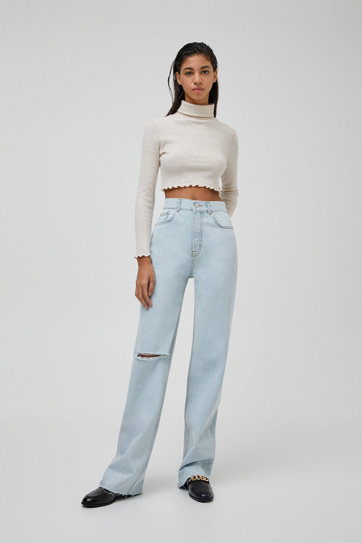 Pull & Bear Kadın Açık Mavi Yüksek Bel Straight Fit Jean 04681313 0