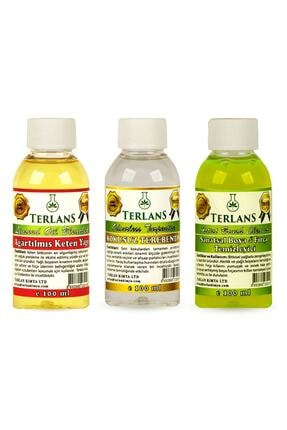 Terlans Yağlı Boya Seti Yardımcı Malzemeler 3 X 100 ml Kokusuz Terebentin Resim Yağı Ve Boya Tem. 0