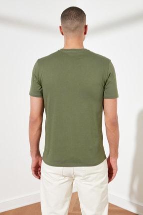 TRENDYOL MAN Haki Basic Erkek Slim Fit V Yaka Kısa Kollu T-Shirt TMNSS19BO0002 4