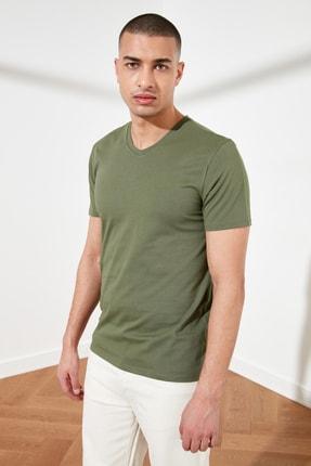 TRENDYOL MAN Haki Basic Erkek Slim Fit V Yaka Kısa Kollu T-Shirt TMNSS19BO0002 3