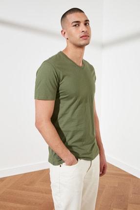 TRENDYOL MAN Haki Basic Erkek Slim Fit V Yaka Kısa Kollu T-Shirt TMNSS19BO0002 1