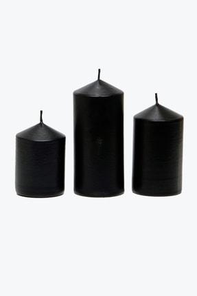 Angel Mum Siyah Silindir Mum 3'lü Set Pudra Kokulu 6 Cm Çap Boylar 6-9-12 cm 4
