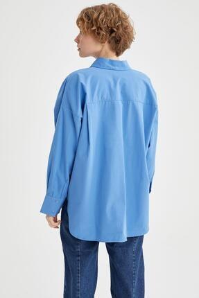 Defacto Kadın Mavi Basic Oversize Pamuklu Gömlek 3