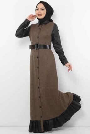 Tesettür Dünyası Kadın Kazayağı Desenli Elbise Tsd9066 Camel 0