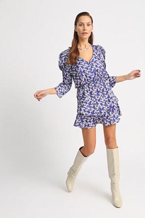 Esra İnceefe Kadın Lacivert V Yakalı Düğmeli Pileli Kol Belden Lastikli Valonlu Çiçekli Mini Elbise 0