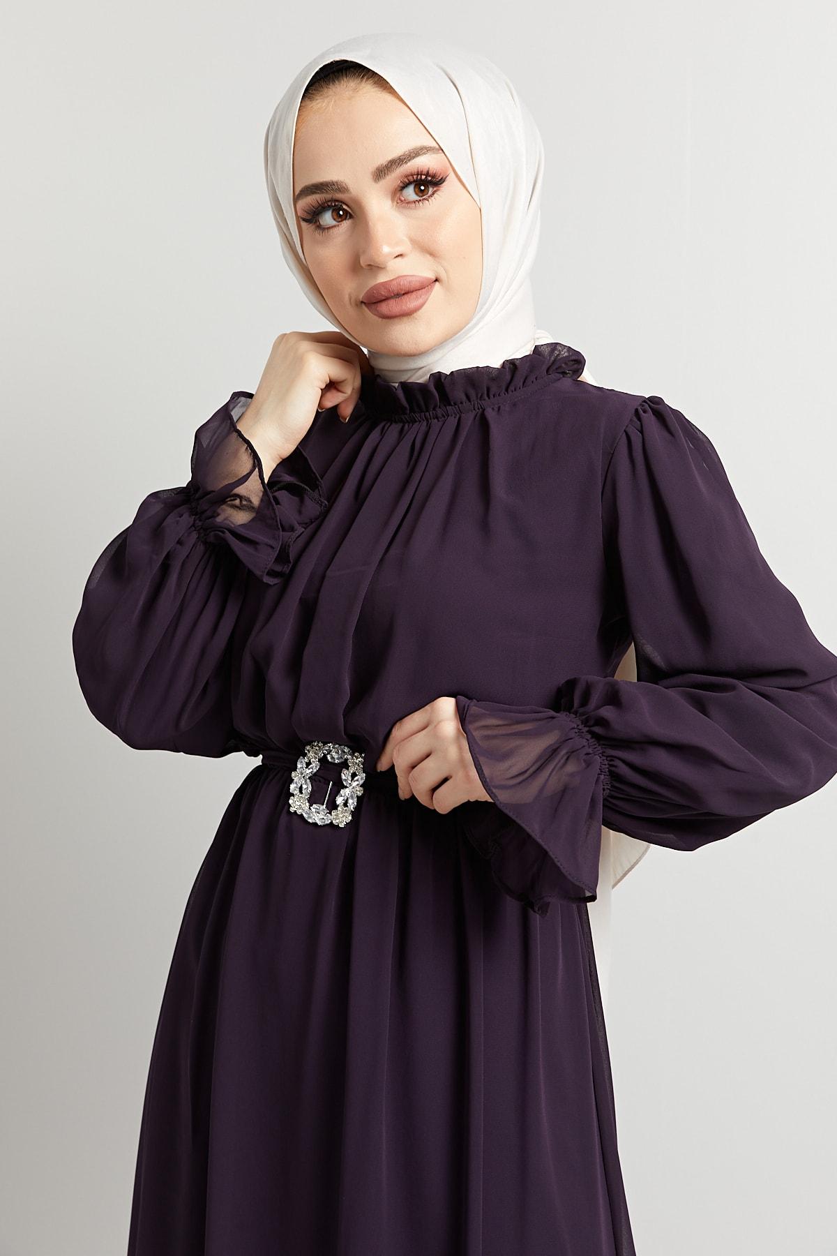 Komple Astarlı Çıkarıp Takılabilen Seyyar Taş Kemerli Abiye Elbise