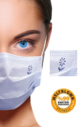 BlueDaisyMask Diamond Blue Meltblown Filtreli 100 Adet (çiçek Logolu) 3 Katlı Kokusuz Cerrahi Yüz Maskesi 0