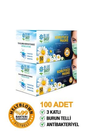 BlueDaisyMask Diamond Blue Meltblown Filtreli 100 Adet (çiçek Logolu) 3 Katlı Kokusuz Cerrahi Yüz Maskesi 2