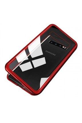 Samsung Nihcase Galaxy S10 Metal Frame Magnet 360 Cover Kılıf Kırmızı + Full Closing Glass 0