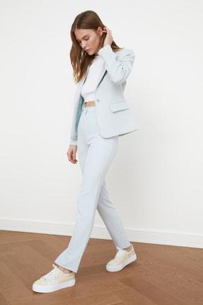 TRENDYOLMİLLA Mavi Düğme Detaylı Blazer Ceket TWOSS21CE0039 2