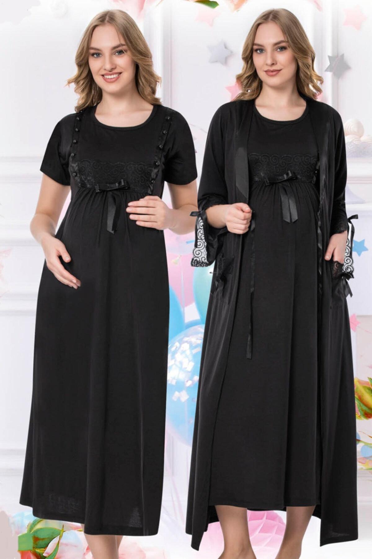 Lohusa Gecelik Takım Siyah Renk 2'li