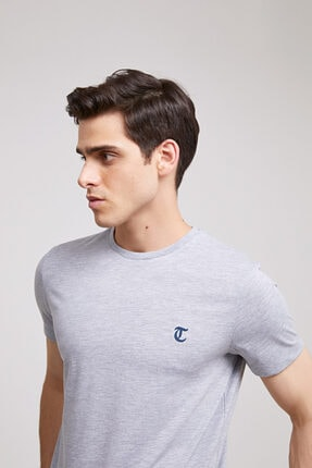 D'S Damat Erkek Gri Düz Twn Slim Fit T-shirt 0