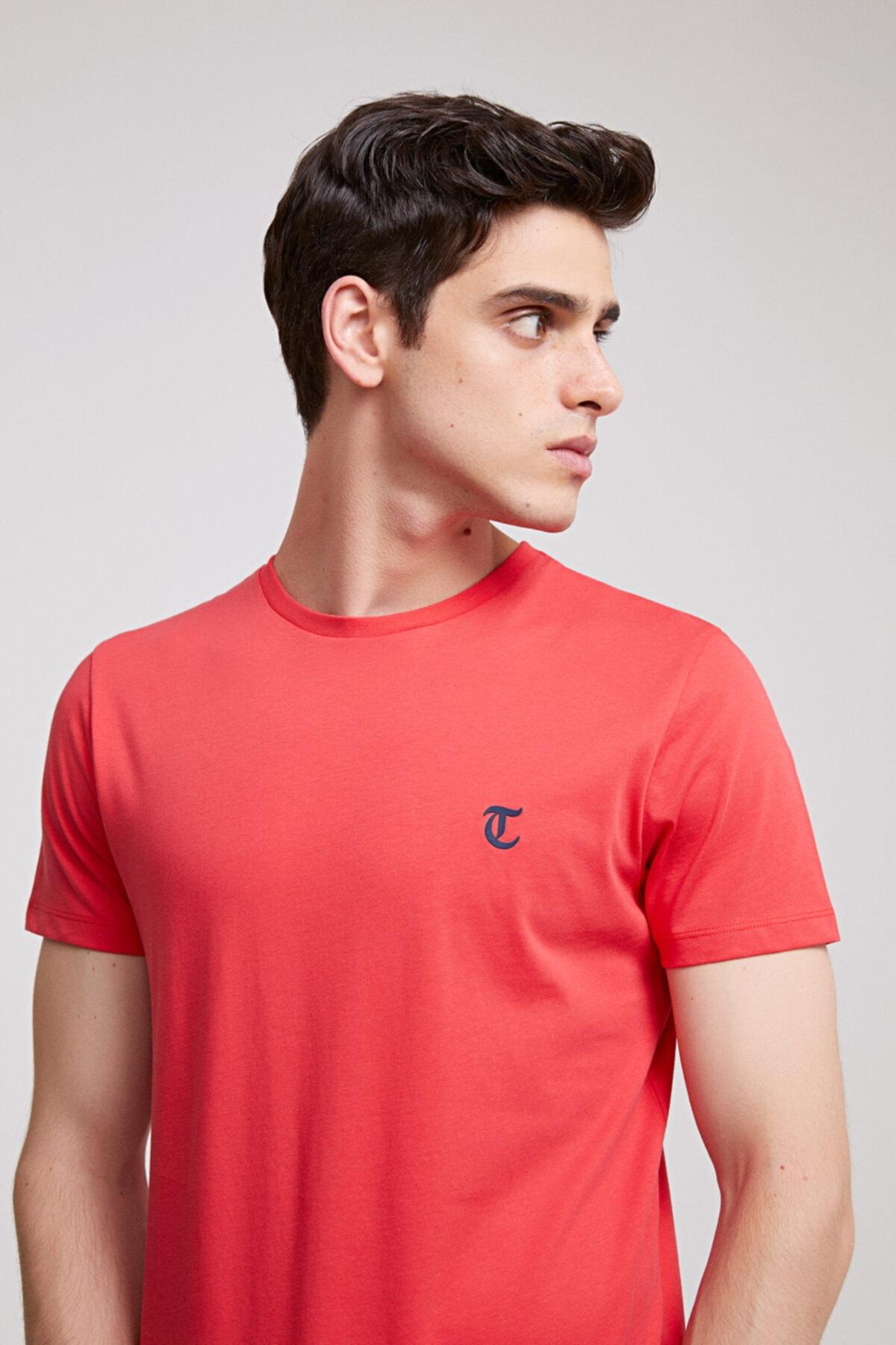 Erkek Nar Çiçeği Düz Twn Slim Fit T-shirt