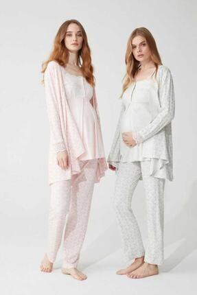 Feyza Pijama Kadın Lohusa 3'lü Pijama Takımı Dantelli 3 Düğmeli 0