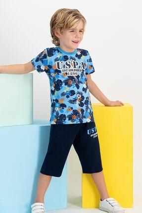 US Polo Assn Lisanslı Mint Erkek Çocuk Mavi Kapri Takım 0