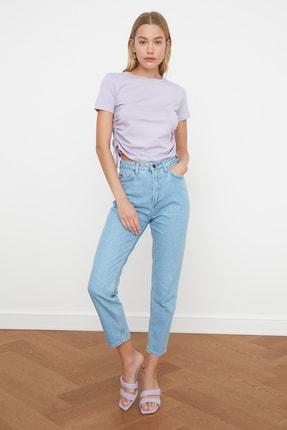 TRENDYOLMİLLA Lila Büzgülü Basic Örme T-Shirt TWOSS21TS0131 3