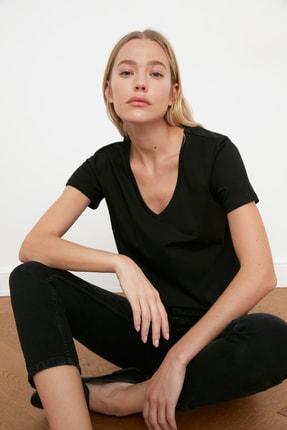 TRENDYOLMİLLA Siyah-Gri %100 Pamuk V Yaka 2'li Paket Örme T-Shirt TWOSS20TS0142 2