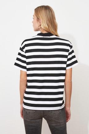 TRENDYOLMİLLA Çok Renkli Çizgili Basic Dik Yaka Örme T-Shirt TWOSS21TS1204 3