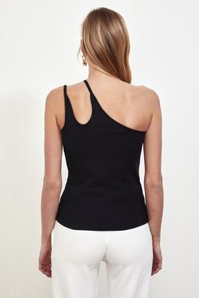 TRENDYOLMİLLA Siyah Tek Omuzlu Fitilli Örme Bluz TWOSS21BZ0563 4