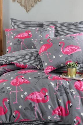 Fushia Flamingo Grey %100 Pamuk Çift Kişilik Nevresim Takımı 3
