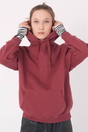 Addax Kadın Vişne Kapüşonlu Sweatshirt S0519 - P10V1 Adx-0000014040 1