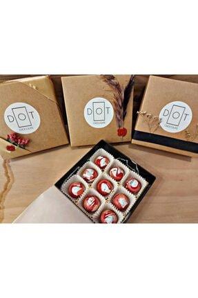 Dot Chocolate | Çilekli El Yapımı Belçika Çikolatası 9'lu 1