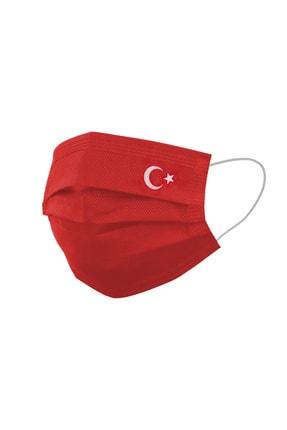 FCMASK Kırmızı Ayyıldız Tek Kullanımlık 3 Katlı Meltblown Filtre Cerrahi Koruyucu Yüz Maskesi 50 Adet 0