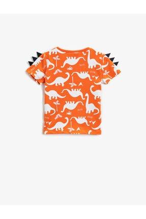 Koton Erkek Bebek Turuncu Dinozor Kısa Kollu Bisiklet Yaka Pamuklu T-Shirt 1