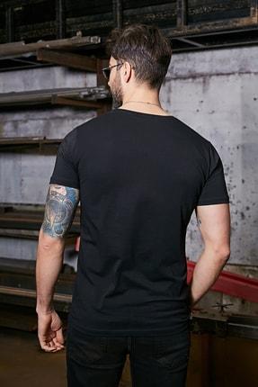 Sateen Men Erkek Siyah Kısa Kol V Yaka T-Shirt 2