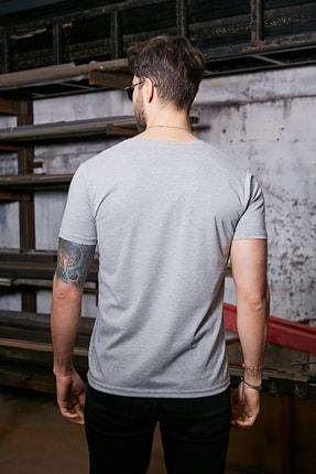 Sateen Men Erkek Gri Kısa Kol V Yaka T-Shirt 2