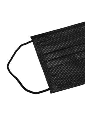 Moda Maske Siyah Renk Ultrasonik 3 Katlı Telli Cerrahi Maske 50 Adet 1