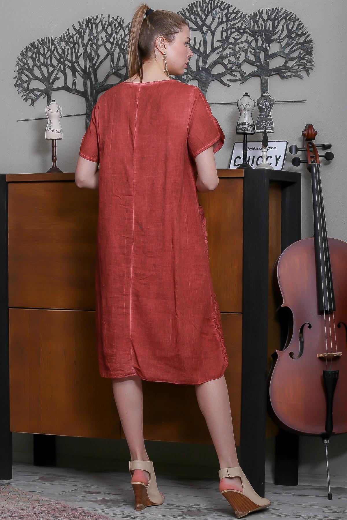Chiccy Kadın Kiremit Sıfır Yaka Dantel Bloklu Cepli Astarlı Yıkamalı Elbise M10160000EL95294 4