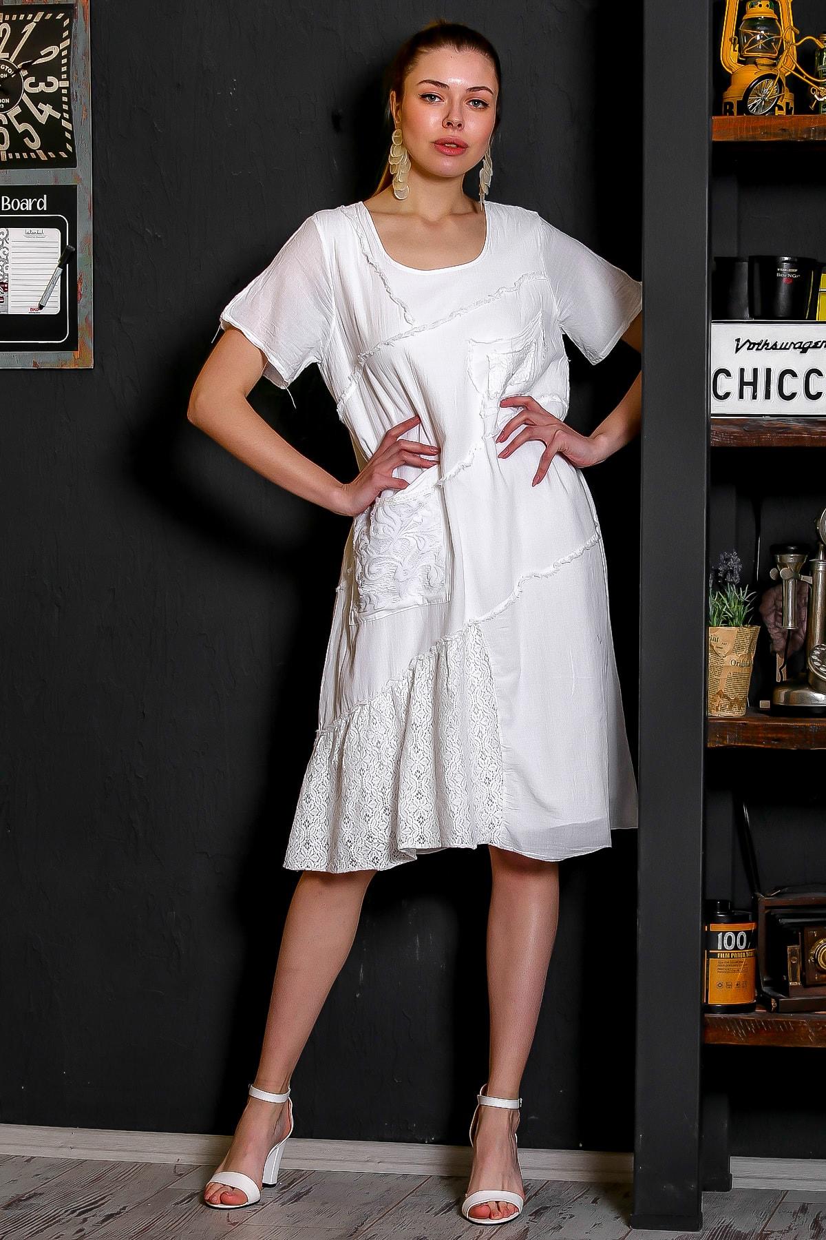 Chiccy Kadın Beyaz Sıfır Yaka Dantel Bloklu Cepli Astarlı Yıkamalı Elbise M10160000EL95294 2