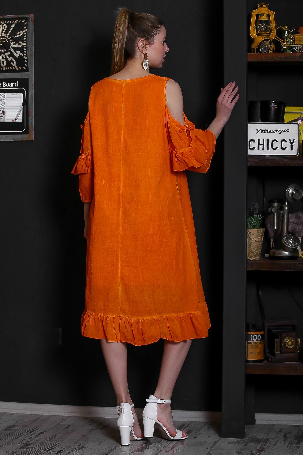 Chiccy Kadın Turuncu Dantel Yakalı Omuzları Pencereli Volanlı Astarlı Yıkamalı Elbise M10160000EL95361 4