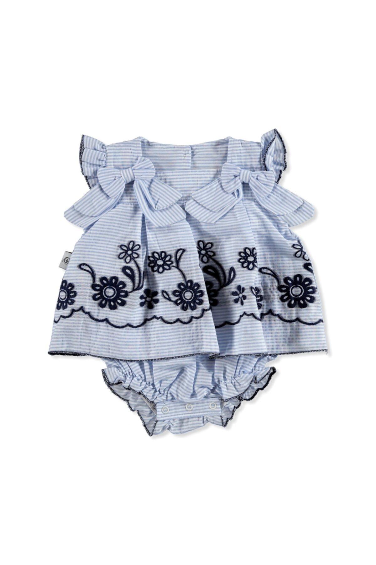 Kız Bebek Mavi Sarmaşık Gömlek Body