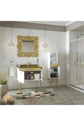 Housepack Gold Beyaz 100 Cm (65+35)boy Dolaplı Cam Lavabolu Lüx Banyo Takımı 3
