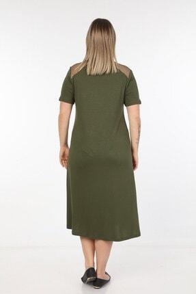 Womenice Kadın Haki Omuzları Önü Fileli Büyük Beden Elbise 4