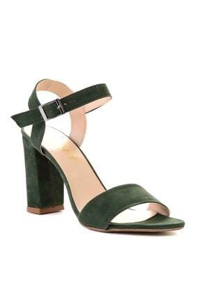 Bambi Yeşil Süet Kadın Klasik Topuklu Ayakkabı K05503740072 3