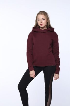 Mlike Fashion Kanguru Cepli Bordo Kapşonlu Kadın Sweatshirt 1