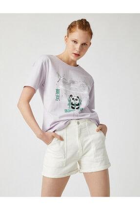 Koton Kadın Mor Bisiklet Yaka T-Shirt 1