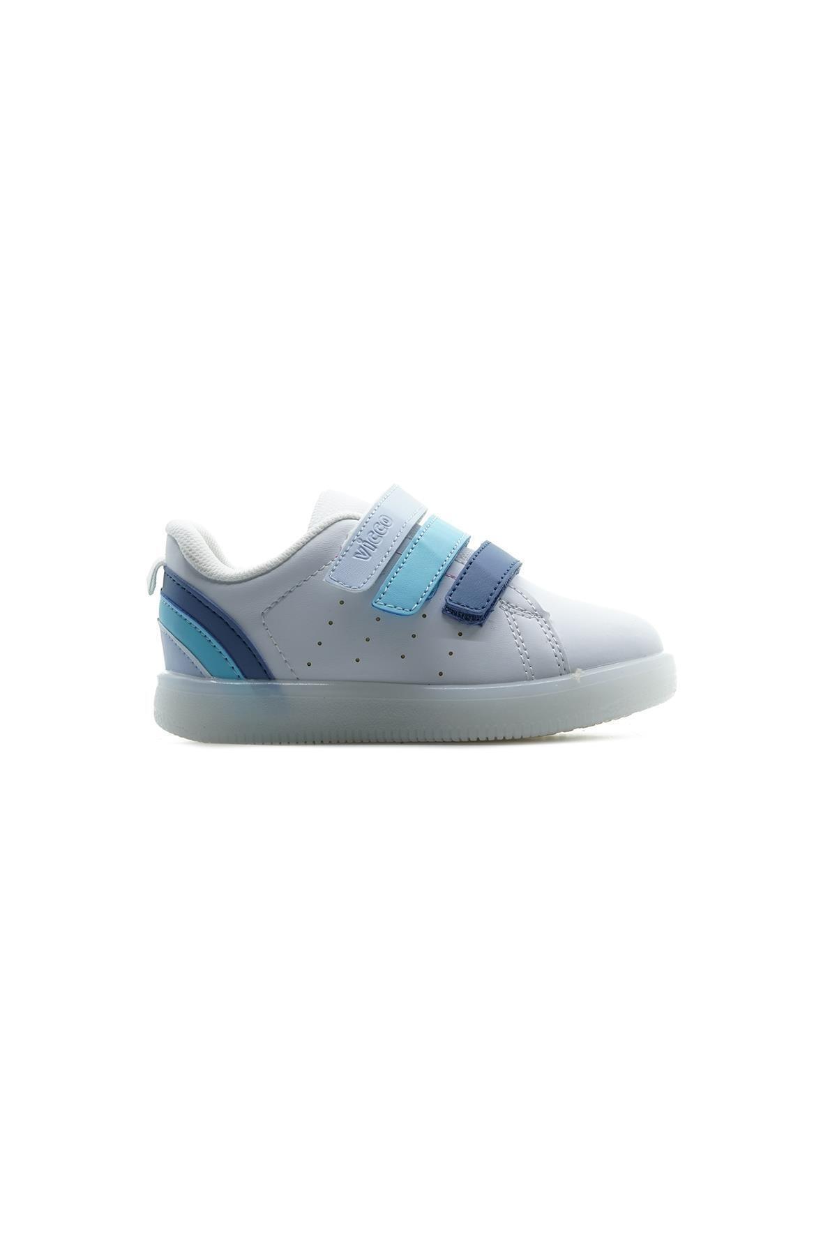 Erkek Çocuk Beyaz Mavi Sun Işıklı Sneaker Spor Ayakkabı 21y 220.212 Pe