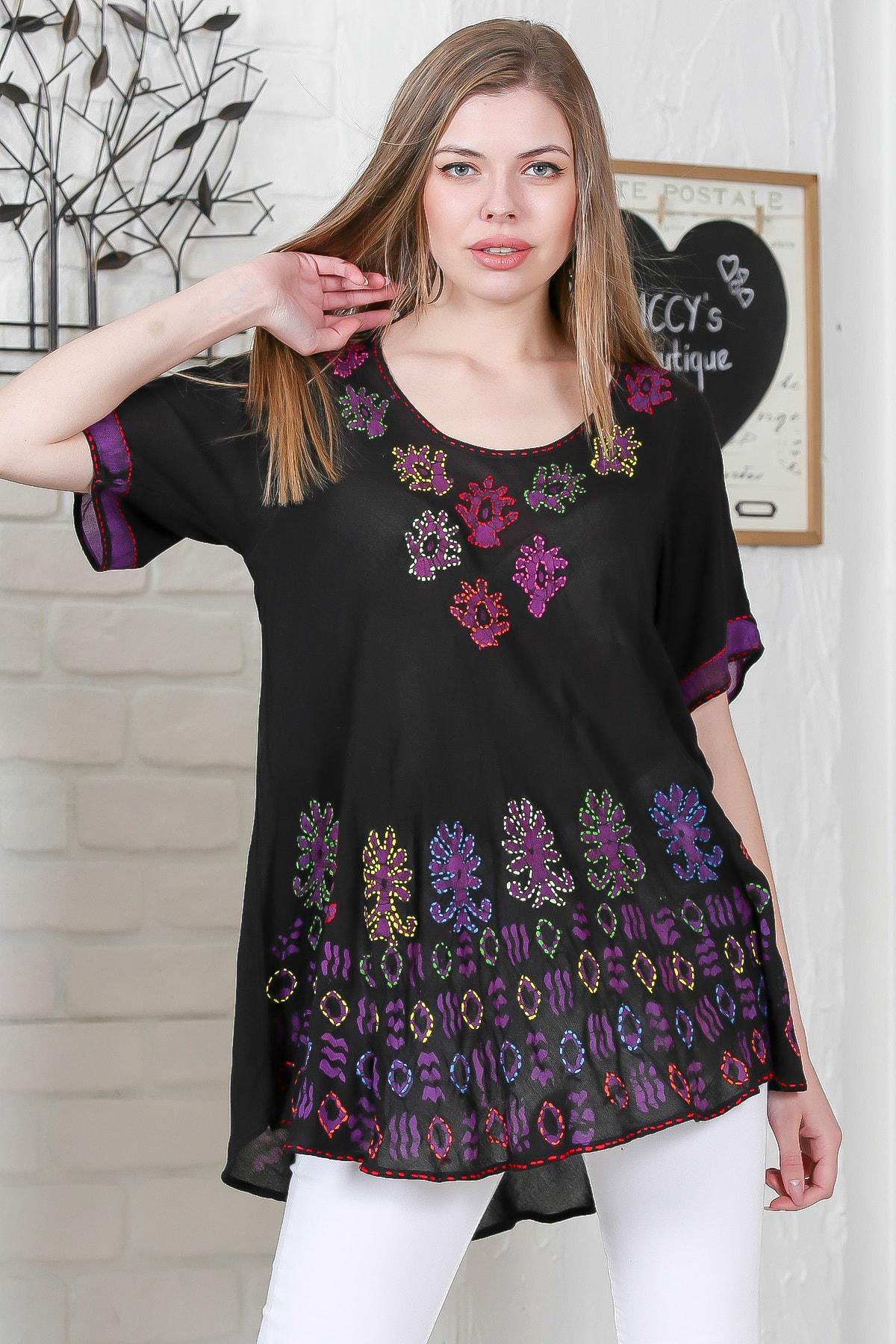 Chiccy Kadın Siyah Çiçek Baskılı Nakış Dikişli Kısa Kol Batik Salaş Dokuma Bluz M10010200BL95495 2