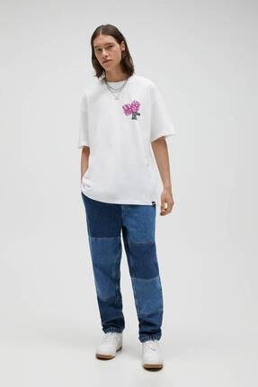 Pull & Bear Erkek Beyaz Zar Görselli T-shirt 2