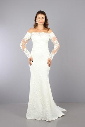 VOLAN Kadın Beyaz Nikahlık Gelinlik Balık Abiye Elbise 3