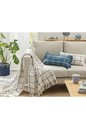 English Home Elegant Lines Pamuk Polyester Koltuk Şalı 130x170 Cm İndigo 0