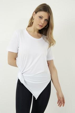 Vis a Vis Kadın Beyaz Yanları Yırtmaçlı Uzun T-shirt 1