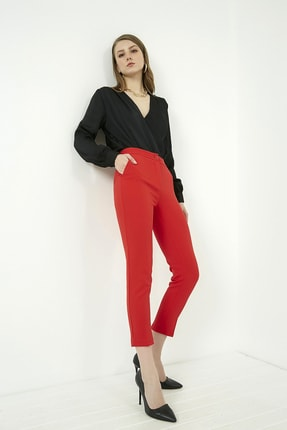 Vis a Vis Kadın Kırmızı Klasik Düz Pantolon 0