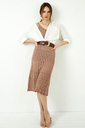 Vis a Vis Kadın Tarçın Askılı Merserize Kroşe Elbise 3